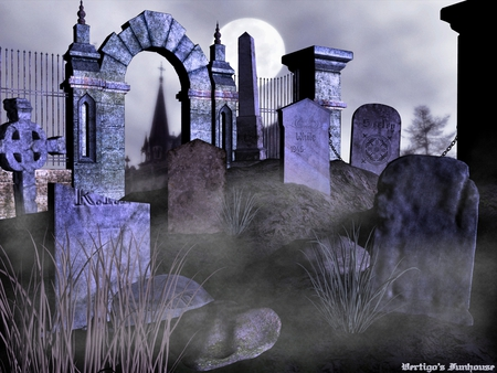 Graveyard By Moonlight - halloween, creepy, grave, moonlight, spooky, dark, cemetery, haunted
