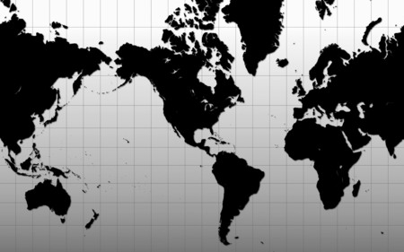 World Map - just, map, black, world