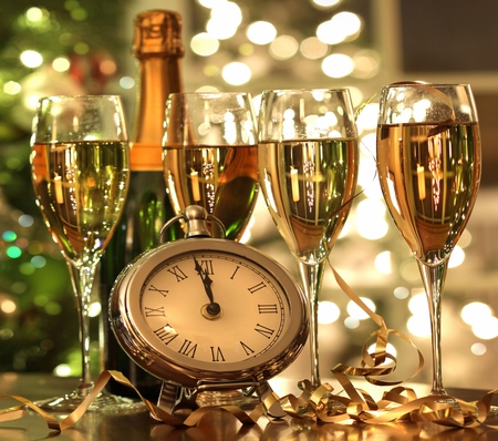 Happy New Year - wine, reflection, abstract, fast, pretty, nice, champagne, holiday, new, happy new year, 2011, new year, 12, merry christmas, happy, christmas, drink, watch, glasses, cool, beautiful, beauty, magic, xmas, magic christmas, bottle, clock, glass, year, summer, lights, lovely, photography