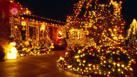 Christmas Lights - Houses & Architecture Background Wallpapers on ...