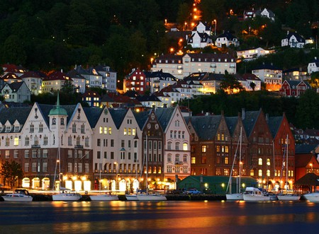 Bergen-Harbor - bergen, beautiful, at night, picture, harbor