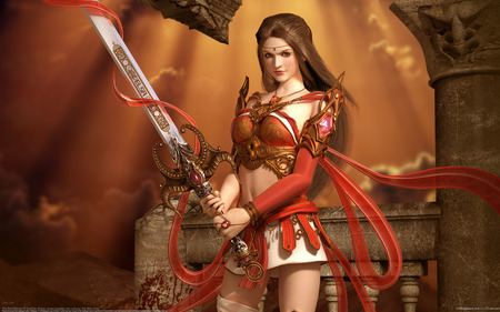 The Red Warrior - cool, beautiful, details, art, women, female, fighter, sword, cg