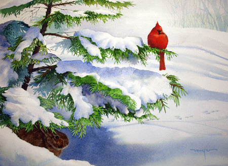 winter - bird, white, snow, red, tree, winter