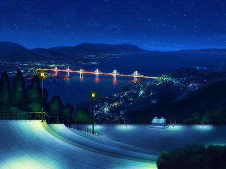 Night City - landscape, scenic, over view, rui wa tomo wo yobu, city, night, stars