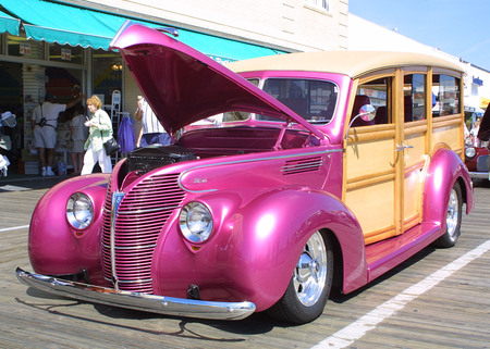 The Woodie - bright, woodie, hotrod, pink