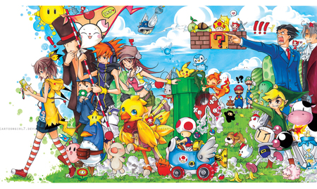 cross-over - kirby, bomber-man, link, ace attorney, final fantasy, ninja town, professor layton, mario bros, the world ends with you, pokemon, harvest moon