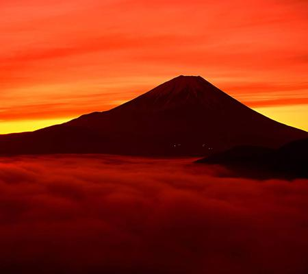 Mountain Fuji - colorful, beautiful, sky, mountain, nature, fire