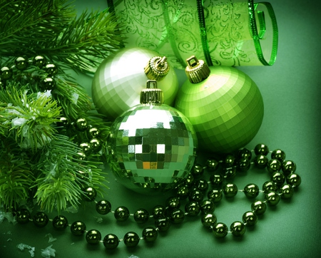 Green Balls - balls, beautiful, ribbon, pretty, beauty, xmas, magic, magic christmas, holiday, happy new year, green, new year, lovely, merry christmas, christmas, ball, photography