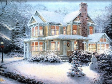Snowy christmas scene wallpaper snowy christmas scenes wallpaper wallpapersafari voltagebd Image collections
