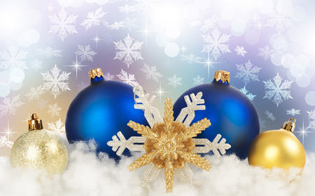 blue and gold christmas 3d and cg abstract background