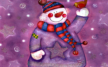 purple snowman - 3D and CG & Abstract Background ...