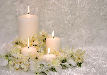 candles - cool, flowers, candle, candles, beautiful, elegant, harmony, flower, nice, photography, white, gentle, bouquet