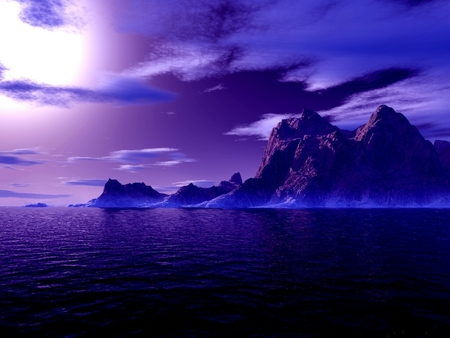 blue isle - moon, water, 3d, island