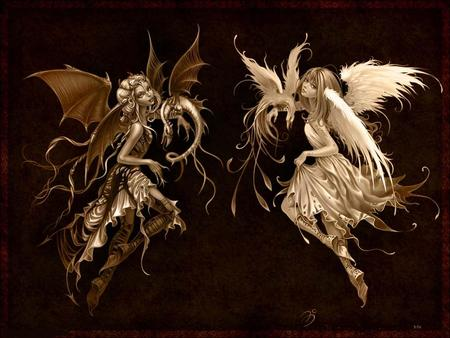 angel and devil - funny, girl, angel, 3d, others, fire, fantasy
