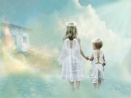 path of light - light, children, faith, hope, angels