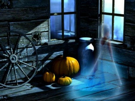 The Spirit of Halloween (3D) - halloween, pumpkin, ghost, spirit, spooky, 3d and cg