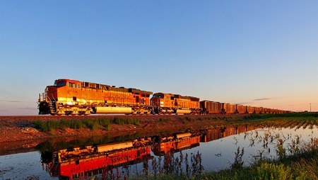 Train Twins - sunset, red, train, water