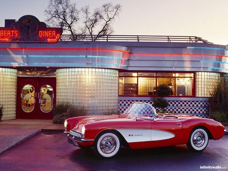 5 and Diner - corvette, classic, food, car