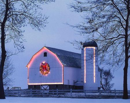 Country Christmas - barn, trees, snow, lights, silo, winter, christmas