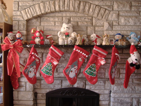 Christmas Time - santa, tree, chimney, stocking