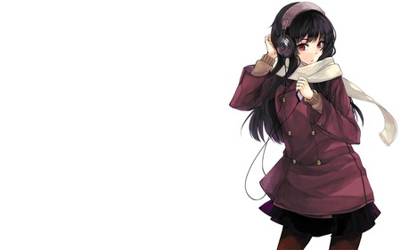 Anime Girl with Headphones - headphones, long hair, anime, girl, stockings, skirt, white, black hair, scarf, red eyes