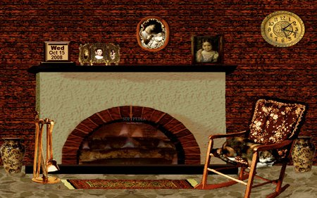 Cozy Winter Fireplace - photography, living room, beautiful, clock, cat, fireplace, chear, fire