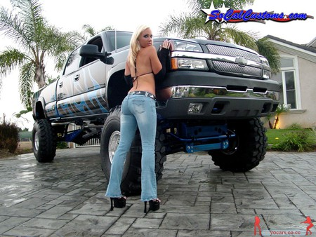 Hot Blonde & Chevy Truck - hot, chevy, model, sexy