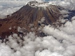 Kilimanjaro wrapped in clouds, Kenya, Africa