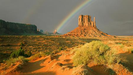 Rainbow Over Monument Valley - rainbow, sunlight, utah, desert