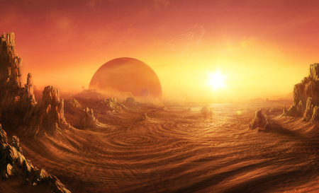 SARA-MATTE - desert, planet, rock, sunset