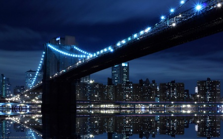 Bridge in USA - lake, black, blue, night, dark, water, light, town, buildings, bridge