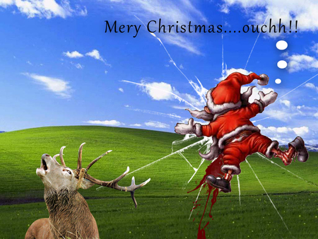 Merry christmas ouch funny entertainment - Free funny christmas desktop wallpaper ...