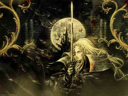 castlevania - sword, moon, woods, dark, man, castle