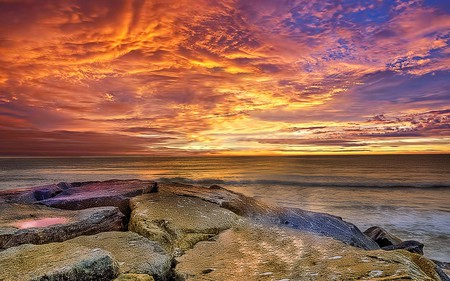 Surprise - sea, coral reef, sunset, clouds, beauty