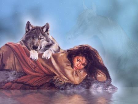 girl and wolf - indian, girl, woman, painting, wolf