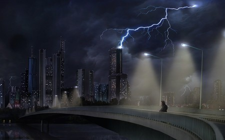 dark city - dark, black, lightning, city, fantasy