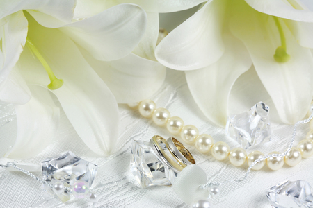 Wedding - cool, flowers, rings, pearls, beautiful, elegant, girly thing, harmony, lilies, nice, flower, lace, white, gentle, diamond, lily, holiday, wedding, photography, bouquet, romance