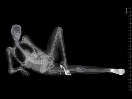 X Rated - no clothes, woman, xray, high heels, posing