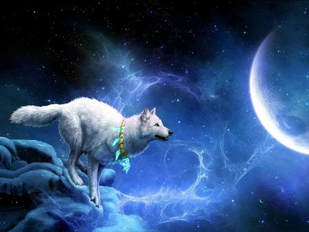 JUST A HOP,SKIP & JUMP AWAY...:-) - moon, snow, white wolf, winter, fantasy, amulet, night, stars