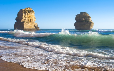 The Other Two - skies, beautiful, waves, blue, beaches, nature, formations, rock