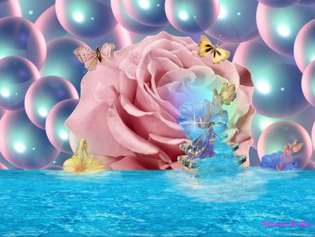 Fairy Falls - water, rose, falls, other, fairy, bubbles, fantasy