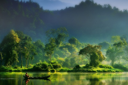 Painting of Nature - green, stunning, gorgeous, boat, entrancing, beauty, neat