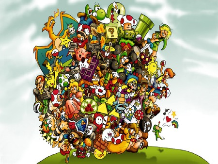 nintendo katamari - ball, dk, nintendo, girl, women, zelda, triforce, katamari, kirby, boo, peach, pokemon, link, mario, toad, pokeball, pipe, female