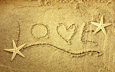 Love - photography, with love, nice, beauty, romantic, nature, sand, love, lovely, valentines day, beautiful, beach, pretty, romance, starfishes, letters