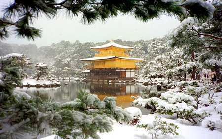 SNOW FRAME - shrine, winter, world heritage, snow, temple, building, architecture, japan, kyoto prefecture