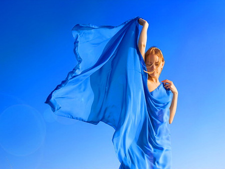 Sky - woman, train of blue, wind, blue sky, dress