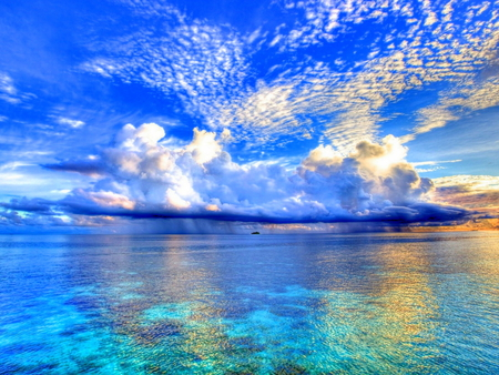 Clouds Over The Sea - clouds, sky, heaven, blue, sea