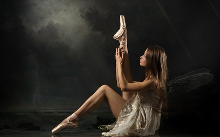 Ballerina - people, elegance, beautiful, legs, beauty style, angel, ballerina, she, abstract, face, pretty, beauty, sexy, girl, dance, brunette, female, hands, woman, dancer, elve, ballett, ballet dress, sport, lovely, photography, hair, ballet shoes, sweet, dress, perfection