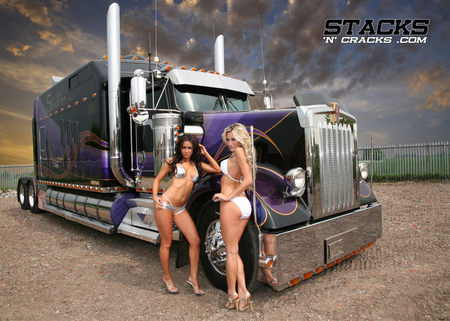 Big Rig - truck, models, stacks, babes