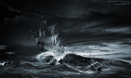 Ghost Ship - dark, spooky, sails, waves, ship, sea